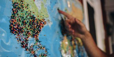 Weltkarte mit Markierungen